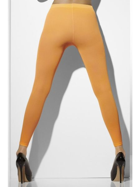 Opaque Footless Tights -  Neon Orange